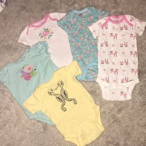 Other - Lot of five baby girl onesies size 6-9 months